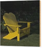 Garden Bench Yellow Wood Print