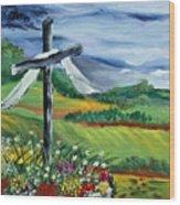 Garden Cross Wood Print