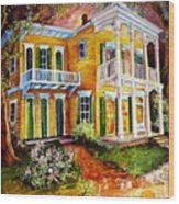 Garden District Home  Wood Print