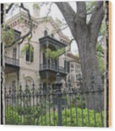 Garden District House Wood Print