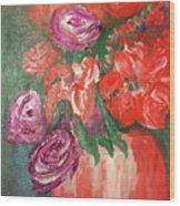 Garden Flowers In Vase 1 Wood Print