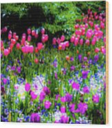 Garden Flowers With Tulips Wood Print