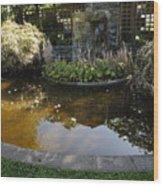 Garden Fountain Pond Wood Print