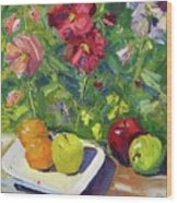 Garden Fruit And Flowers Wood Print