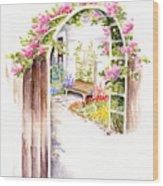 Garden Gate Botanical Landscape Wood Print