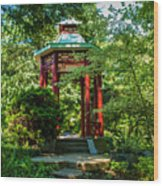 Garden Gazebo Wood Print