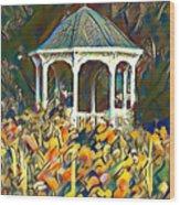 Garden Gazebo Watercolor Wood Print
