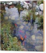 Garden Koi Pond Wood Print