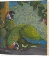 Garden Parrots Wood Print