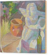Garden Study With White Angel Figure Wood Print