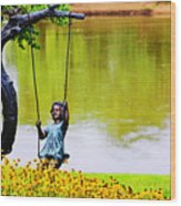 Garden Swing By The River Wood Print