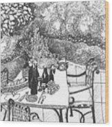 Garden Table Wood Print by Jo Anna McGinnis