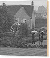 Garden Tour In The Rain Monotone Wood Print