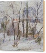 Garden Under Snow Wood Print by Paul Gauguin