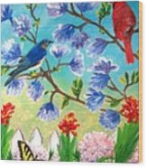 Garden View Birds And Butterfly Wood Print