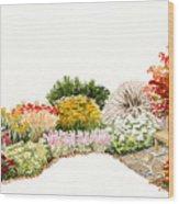 Garden Wild Flowers Watercolor Wood Print