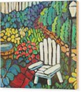 Garden With Lamp By Peggy Johnson Wood Print