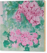 Garden With Pink Flowers Wood Print