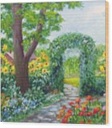Garden With Sunflowers Wood Print