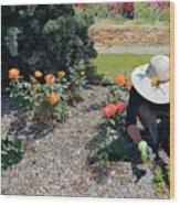Gardener Pulling Weeds  Wood Print