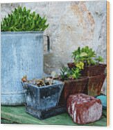 Gardening Pots And Small Shovel Against Stone Wall In Primosten, Croatia Wood Print