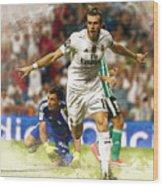 Gareth Bale Celebrates His Goal  Wood Print