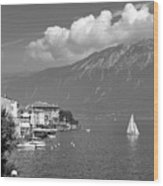 Gargnano On Lake Garda, Italy.    Black And White Wood Print