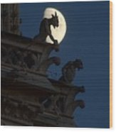 Gargoyle Night Watch Wood Print by Matthew Green