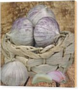 Garlic In The Basket Wood Print