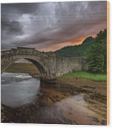 Garron Bridge Sunset Wood Print