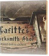 Gas Light At Lafitte's Blacksmith Shop Wood Print