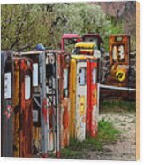 Gas Pump Conga Line In New Mexico Wood Print