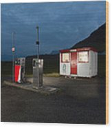 Gas Station In The Countryside, South Wood Print