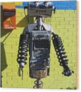Gas Station Robot Wood Print