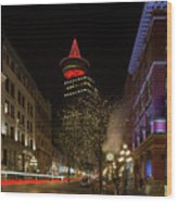 Gastown In Vancouver Bc At Night Wood Print