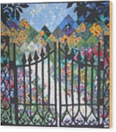 Gate Into The Garden Wood Print by Sarah Hornsby