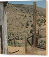 Gate Out Of Virginia City Nv Cemetery Wood Print