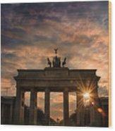 Gate Sunset Wood Print