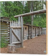 Gate To Log Camp At Fort Clatsop Wood Print