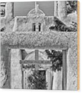 Gate To Ranchos Church Black And White Wood Print