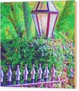 Gate With Lantern Wood Print