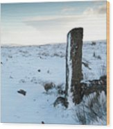 Gatepost In The Snow Wood Print