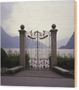 Gates At Lake Lugano Wood Print