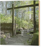 Gateway And Stone Path Wood Print