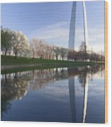 Gateway Arch And Reflection Wood Print