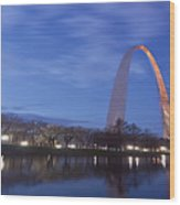 Gateway Arch At Dawn Panoramic Wood Print