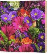 Gathered Garden Flowers Wood Print