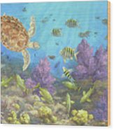 Gathering In The Reef Wood Print