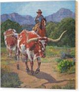 Gathering Longhorns Wood Print