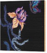 Gathering Nectar On Black Wood Print